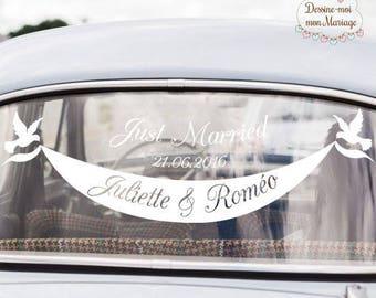 """Stickers de voiture mariage personnalisable """"Banderole"""" - pour une décoration personnalisée"""