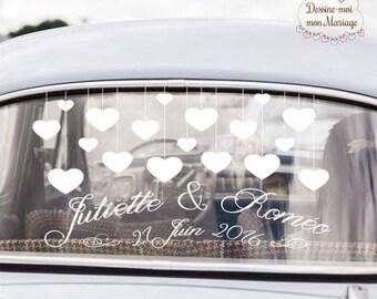 """Stickers de voiture mariage personnalisable """"Coeurs"""" - pour une décoration personnalisée"""