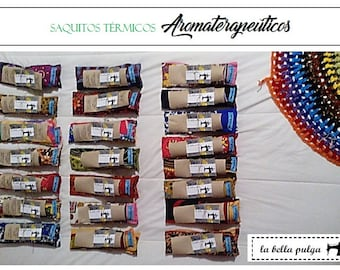 Aromatherapy Thermal bags. Based on flowers and herbs. With grains and seeds organic cultivation. To balance body & mind.