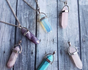 Crystal necklace, quartz crystal necklace, turquoise amethyst necklace, opalite necklace, boho healing crystal necklace, gifts for her