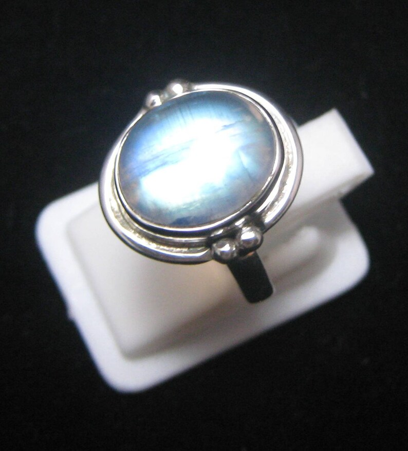 Rainbow Moonstone Ring 92.5 Sterling silver Ring Rainbow Moonstone ring sterling silver jewelry Gemstone Ring Size US 5 34 BR 118