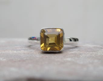 Citrine Ring, 92.5 solid sterling silver Citrine ring, gemstone ring, silver ring, Birdal ring, Citrine Ring, Ring size 7 USA R3