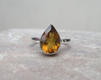 Citrine Ring, 92.5 solid sterling silver Citrine ring, gemstone ring, silver ring, Birdal ring, Citrine Ring, Ring size 6 US R4