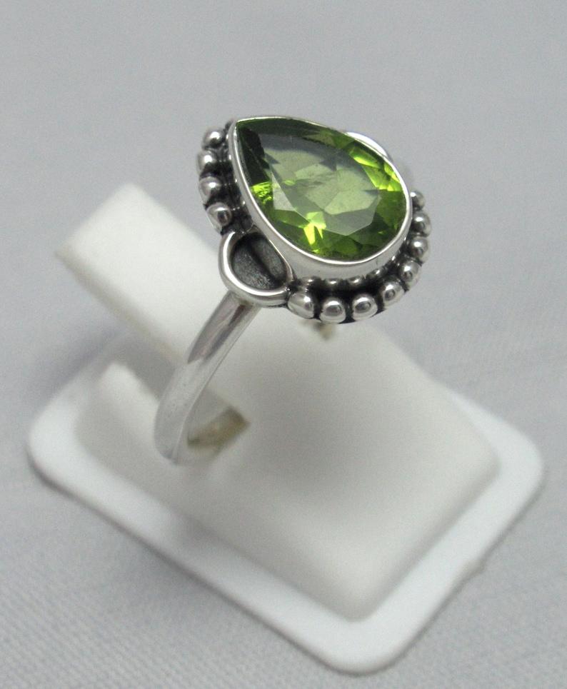 Peridot Pear Ring 92.5 solid sterling silver Gemstone Ring Natural Peridot Ring Size US 7 14  BR 78