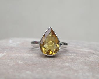 Citrine Ring, 92.5 solid sterling silver Citrine ring, gemstone ring, silver ring, Birdal ring, Citrine Ring, Ring size 6 US R6