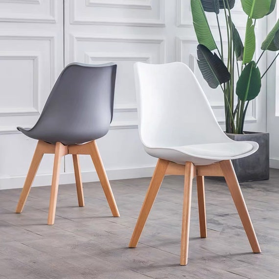 Tulip Pyramid Dining Chairs Office Chair With Solid Wooden Legs Padded Faux Leather Cushions