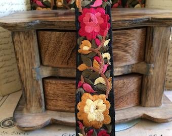 Galon Persia mustard daisy - black satin red 3 cm