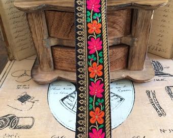 Jacquard ribbon 'boheme' dore black leaves - orange 3.50 cm