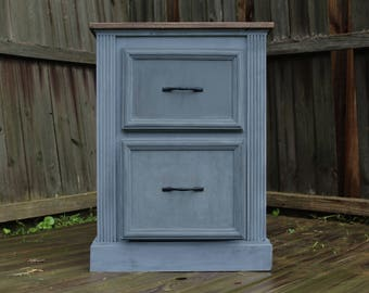 Blue Vintage-style Nightstand / Bedside Table / Side Table / Entry Way Organizer / End Table / Drawer
