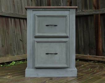 Grey Vintage-style Nightstand / Bedside Table / Side Table / Entry Way Organizer / End Table / Drawer