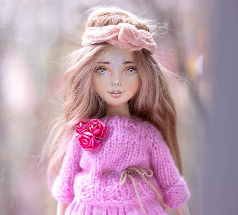 SOLD!!! Blondie gold hair doll, Ooak doll, handmade doll, beautiful doll,  art textile doll, interior doll, collectible barbie doll