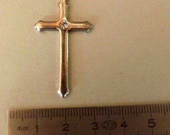 Silver cross pendant and rhinestone