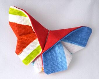 """Broche papillon origami """"Red Stripes"""""""