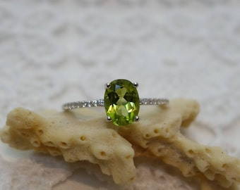 ENNIA silver green amethyst and peridot ring