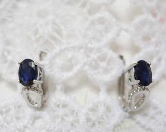 Dark silver and Sapphire earrings