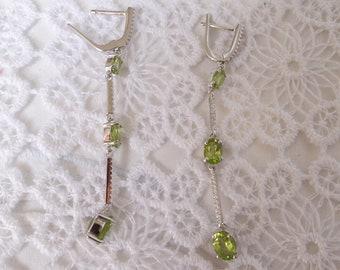 JACKIE, Peridot and Silver earrings
