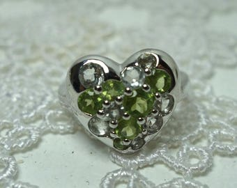Green amethyst and peridot heart/heart silver ring