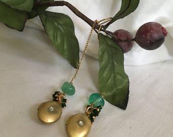 Gold Locket Green Onyx Dangle Earrings (Love Tokens)