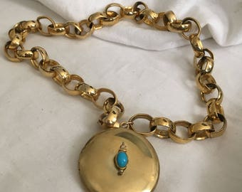 Gold Locket on Chunky Chain (Love Tokens)