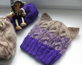 Knited Hat Kitty With Ears Animal Ear Beanie Pussycat Purple Baby Toddler Cat Girls Boys Kid Knit Accessories