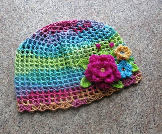Girl s Knit Hat With Flowers Embroidered Beanie Hand Knit  144f39a4f2f