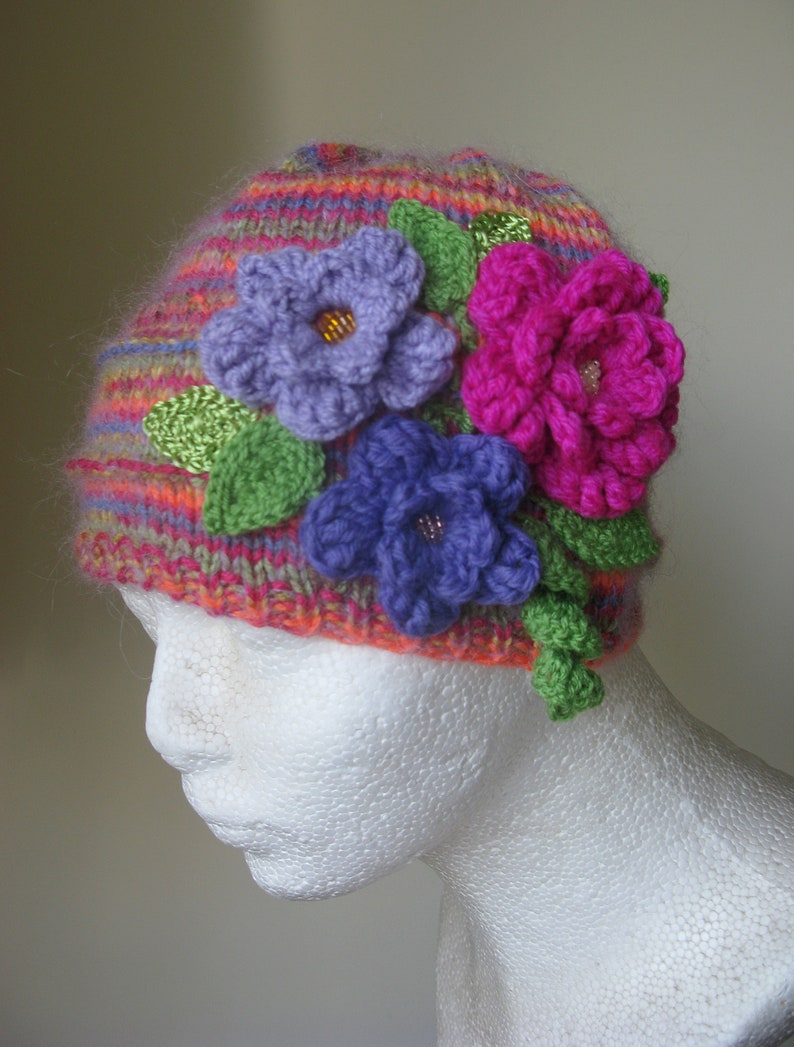 47fde988ff7 Girl s Knit Hat with Flowers Multicolor Hand Knitted Hat Knit Accessories  Mu... Girl s Knit Hat with Flowers Multicolor Hand Knitted Hat Knit  Accessories ...