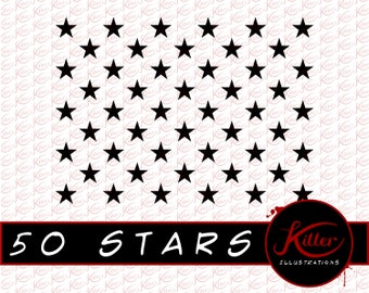 50 STARS Vector | Clip Art | Cut File| Instant Digital Download | Svg | Png | Pdf | Jpg | Eps | Dxf |