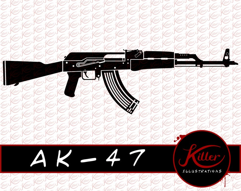 AK-47 Gun Vector | Rifle Clip Art | Firearm | Cut File| Instant Digital  Download | Svg | Png | Pdf | Jpg | Eps | Dxf |
