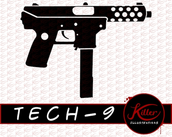 TECH-9 Gun Vector | SMG Clip Art | Firearm | Cut File| Instant Digital  Download | Svg | Png | Pdf | Jpg | Eps | Dxf |