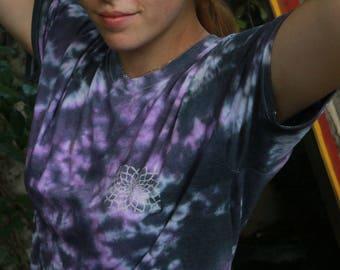 Black & Lilac Sunflower Lino-Print Tie Dye Shirt [MEDIUM]