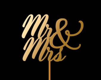 Mr and Mrs Cake Topper, Monogram Cake Topper for Wedding and Anniversary