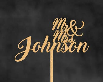 Personalized Wedding Cake Topper, Rustic Cake Topper, Rustic Wedding Cake Topper, Custom Last Name