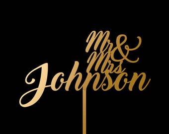Wedding Cake Topper, Mr and Mrs Cake Topper, Personalized Last Name, Custom Cake Topper, Last Name Topper, Gold Cake Topper for Wedding