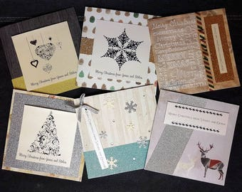 Handmade personalised Luxury 300gsm glitter 6 pack Christmas cards with ribbon, Swarovski crystals and vellum