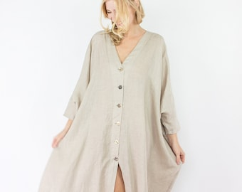 d6e79226be0 Made in Italy, linen maxi shirt dress, women clothing, linen tunic, linen  blouse, beach cover up