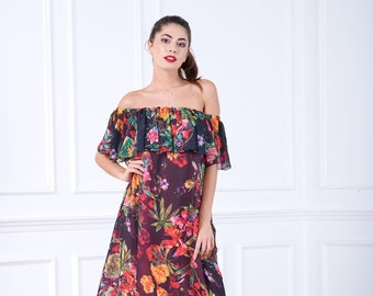 Linen wrap dress shift summer linen kaftan dress Floral wrap wedding guest summer boho Long modest bohemian maxi Graduation kaftan