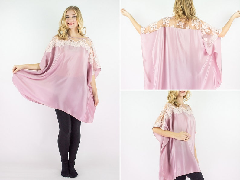 Italian silk oversized tunic dress perfect loose fit plus size clothing for loungewear and comfortable wear for home