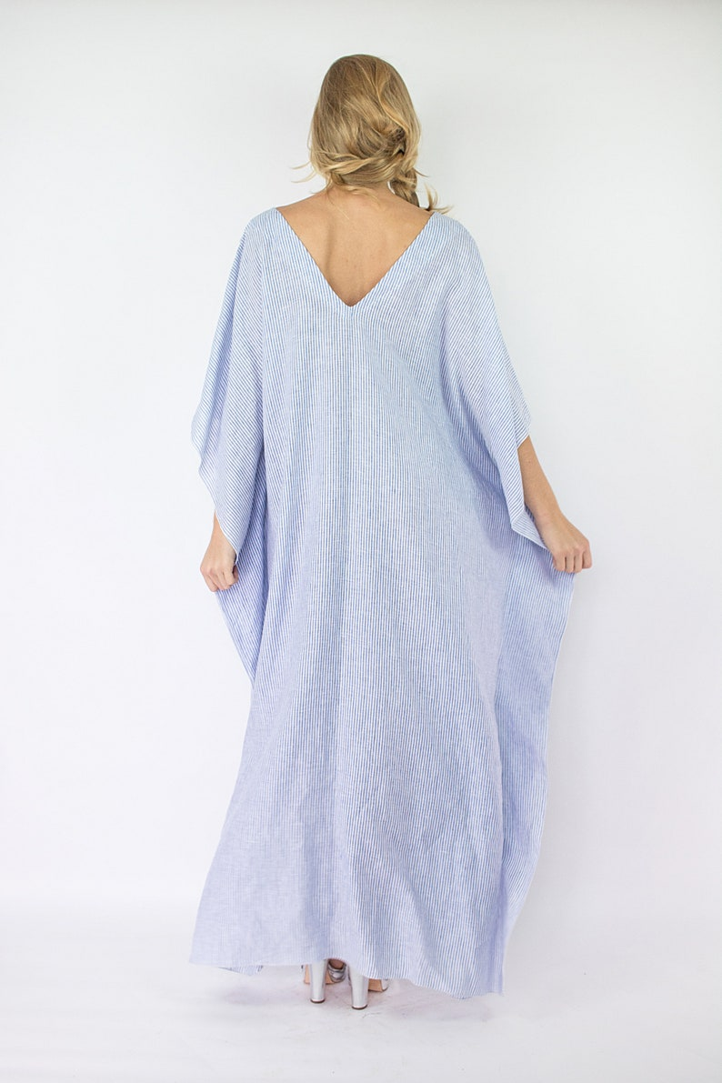 Linen Kaftan Dress Italian Linen Dress Lace Embroidered Kaftan Blue Striped Kaftan Maxi Caftan Linen Loungewear Plus Size Clothing