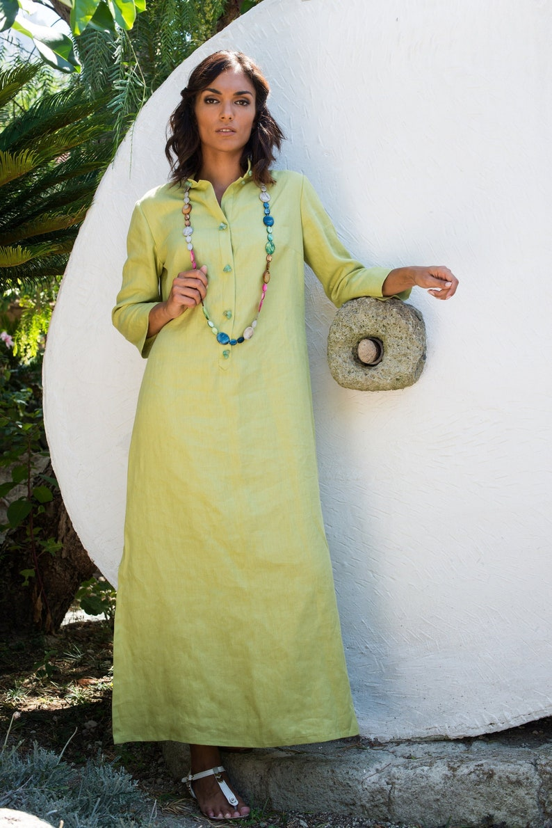 linen kaftan dress with button front made of small colored stones to make it unique Made in Italy