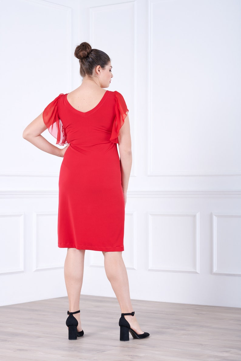 Ruffle Sleeves Dress Plus Size Clothing Red Midi Dress Wedding Guest Dress Women Plus Size Dress Elegant Dress Tulle Sleeves Dress