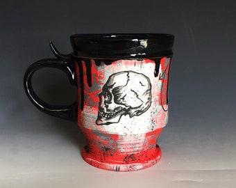 RIOT SKULL MUG, Skull Cup, Ceramic Cup, Coffee Mug, skull art, Handmade Pottery, Wheel Thrown, Graffiti Inspired, Handmade Ceramics Art