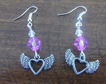 Purple winged heart earrings