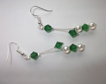 Crystal beads and Pearl Earrings