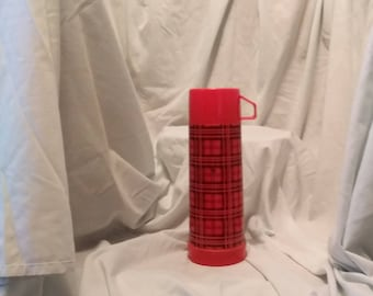vintage red plaid Aladden 1 us pint thermos