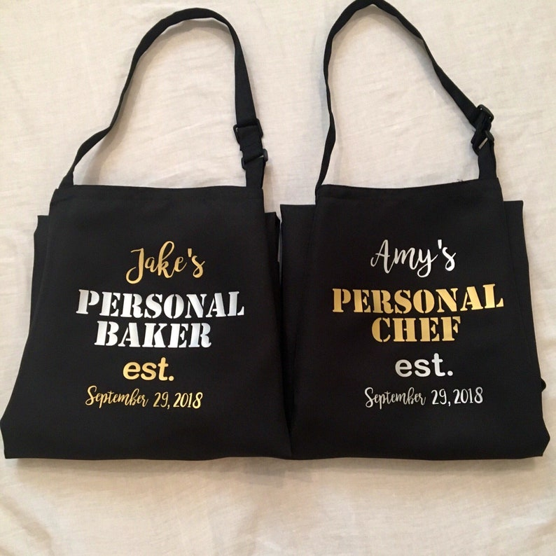 and Mrs Aprons Est 2018 His and Hers Wedding Aprons for Couples Mr Bridal