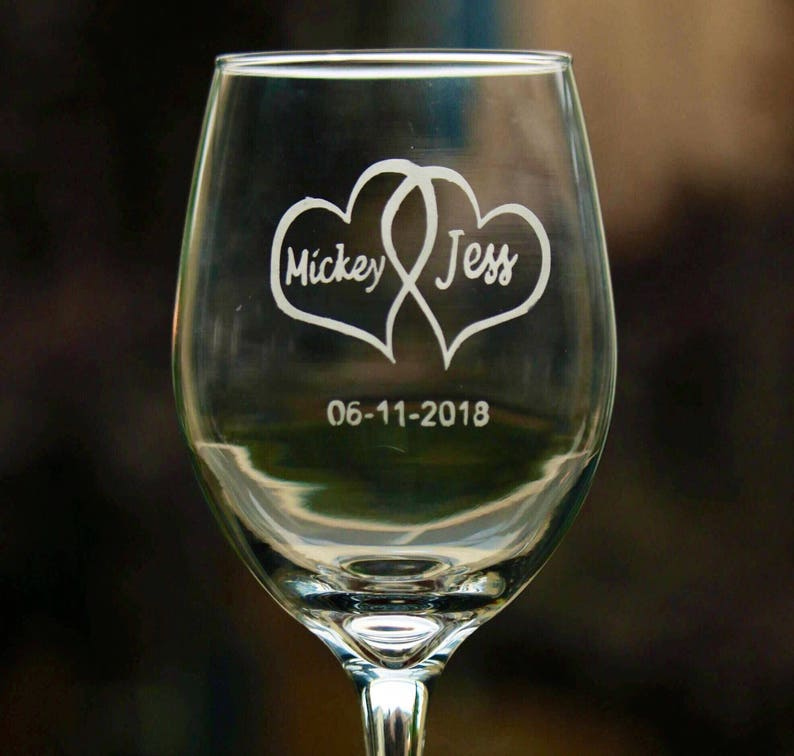Etched Wine Glass Wedding Wine Glass Wedding Gift Ideas Etsy