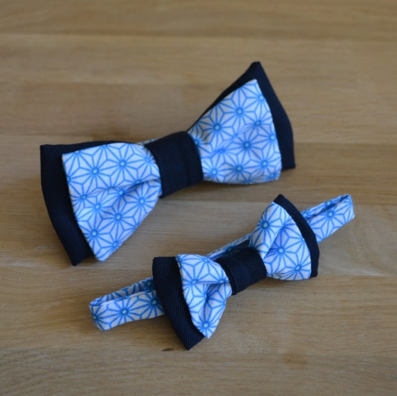 Bow Tie Navy Blue And Royal Blue And White Geometric Etsy