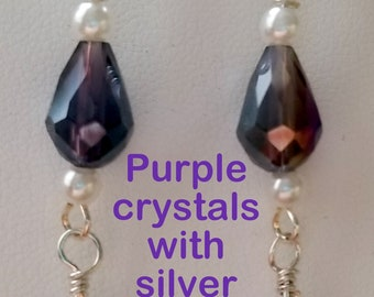 Purple Crystal, Pearl Earrings with Silver Accents