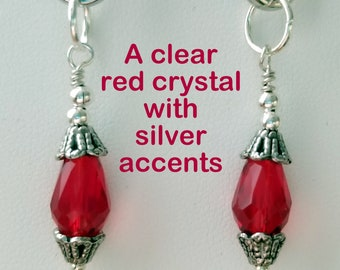 Clear Red Crystal with Silver Accents Earrings