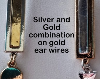 Silver and Gold Bar Earrings on Gold Ear Wires